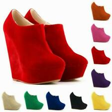 Womens Wedge High Heel Ankle Boots Platform Party Zip Suede Fabric Roman Solid