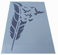 Shabby Chic Stencil feather flying birds Vintage A5 148x210mm Plastic wall sheet