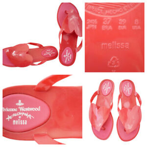 Vivienne Westwood Melissa Shoes Jelly Flip Flops Flats Red Heart Sz US 8 EUR 39