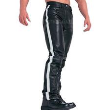 White stripes men biker buffalo leather pants new style leather trousers