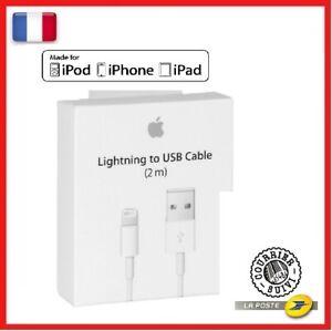 CABLE USB ORIGINAL APPLE en 2M Pour IPhone 7/8/X/XR/11/12