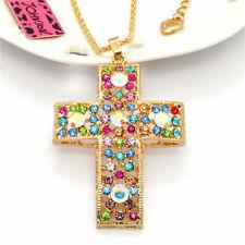 Popular AB Color Crystal Cross Rhinestone Pendant Betsey Johnson Chain Necklace