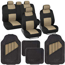 13pc Set Interior Protection Car Seat Covers Set Beige / Heavy Duty Rubber Mats