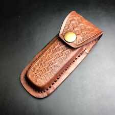 "4 7/8"" Genuine Brown Leather Hunter Folding Knife Tool Belt Sheath Pouch New!"