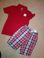 NWT Gymboree Boys Outfit Size 4 Plaid Shorts Polo Shirt Red Blue