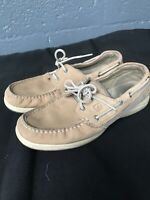 WOMENS SPERRY TOP SIDER Tan SLIP ON BOAT SHOES  SIZE 8 W