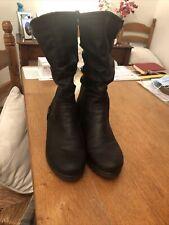 Womens Ladies Rieker Black Wool Fleece Lined Ankle Boots Size 38(5)Small Heel
