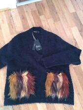 BNWT Zara Textured Blue Jumper Sweater Fur Pockets Blogger M 10 12