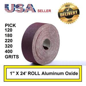 """1"""" x 24' Emery Cloth Rolls 120 180 220 320 400 Grit Aluminum Oxide Sandpaper"""