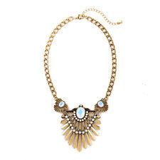 Collar Dorado étnico Art Deco Colgante Cristal Crema Punk Original QT 1