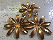 Vintage Sculpted RAW BRASS Daisy Flower Components - Lot of 3-  USA Made