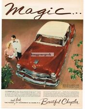 1954 Chrysler NEW YORKER De Luxe Sedan Cordovan Brown Tahitian Tan Vtg Print Ad