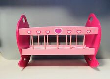 Doll Cradle Bed Base Rocking Bed Furniture Wooden with Mattress Pink Girls Toy
