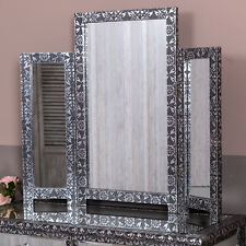 Black Silver Triple Dressing Table Mirror Freestanding Vintage Chic Venetian