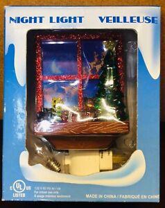"Christmas Holiday Night Light Veilleuse Window Scene ""Santa Flying"""