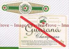 1940s BRASIL Rio De Janiero Antarctica Paulista GUARNANA CHAMPAGNE Label set