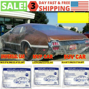 Clear Plastic Temporary Universal Disposable Car Cover Rain Dust Garage 1 Pack