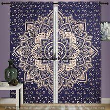 Mandala Golden Flower Print Room Valances Handmade Tapestry Door Curtains Indian