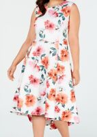 Calvin Klein Womens Dress White Size 14W Plus A-Line Floral High Low $129- 302
