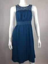 Anthropologie HD In Paris Womens Sz 4 Teal Blue Lace Yoke Lined Dress