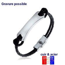Bracelet Gourmette pour homme en cuir et acier brillant Gravure gratuite neuf