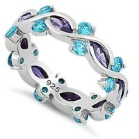 925 Sterling Silver Full Eternity Marquise Round Dark Violet & Aqua CZ Ring