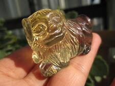 60g Lovely Clear Natural Citrine Quartz Crystal dog Carving