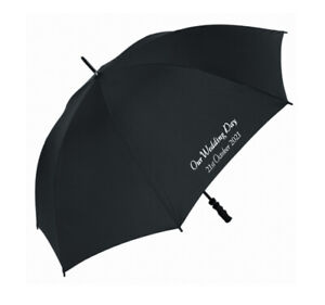 Personalised Black Wedding Umbrella - Our Wedding Day - Just Married - Mr & Mrs