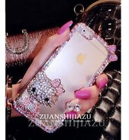 Pink Bling Glitter Crystal Hello Kitty Transparent Hard Case Cover for iPhone 7