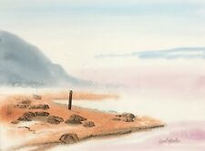 "Carl Martin, ""Cabin in The Mist"" original watercolor painting on Arches paper"