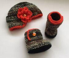 Newborn Baby Girl Crochet Camo Hunting Hat Booties Crochet Photo Prop Outfit