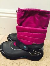 kids merrell winter boots size 3 nylon and rubber hot pink and black