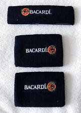 NEW BACARDI RUM BAT LOGO HEADBAND AND WRISTBANDS BLACK TERRY CLOTH SWEATBANDS