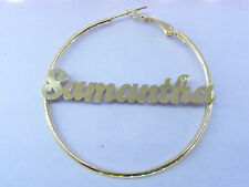 "PERSONALIZED 14K GOLD GP 2"" STUD HOOP NAME EARRINGS 2mm ANY NAME"