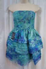 Adrianna Papell Occasions Petite Dress Sz 2P Blue Multi Tiered Print Party dress