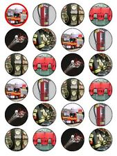 X24 FIREMAN BIRTHDAY CUP CAKE TOPPERS DECORATIONS ON EDIBLE RICE PAPER