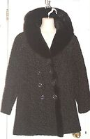 ASTRAKIN Coat by LEPSHIRE FRANCE VTG Black Lamb & Mink Faux Fur Sz S/M *XLNT+