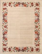 Hand-Tufted Simple Floral Ivory Oushak Indian Indoor Oriental Area Rug New 6x9