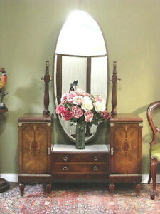 ANTIQUE FRENCH ART DECO WALNUT + MARBLE + BRASS 6 DRAWER DRESSING TABLE   c1920s