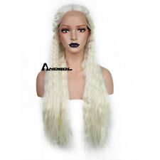 Anogol Game of Thrones Daenerys Targaryen Lace Front Wig Blonde Synthetic Hair