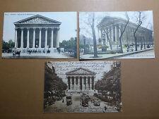 Lot059p c1904 PARIS 3x Eglise de la MADELEINE Postcards CHURCH Horsebus FRANCE