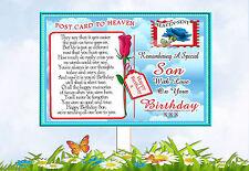 SON BIRTHDAY POSTCARD TO HEAVEN MEMORIAL GRAVESIDE CARD & FREE HOLDER