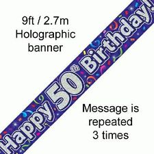 HAPPY 50º COMPLEANNO manifesti OLOGRAFICA 9ft Banner