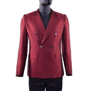 DOLCE & GABBANA RUNWAY Double-Breasted Summer Silk Blazer Jacket Red 05267
