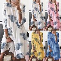 ZANZEA Women Round Neck Floral Print Long Shirt Dress 3/4 Sleeve Mini Dress Plus