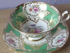 Vintage 1940's England pink rose Green bone china tea cup teacup set