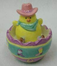Cowgirl Easter Chick in Cowboy Boot Decorated Egg FIGI Stacker Salt & Pepper Set