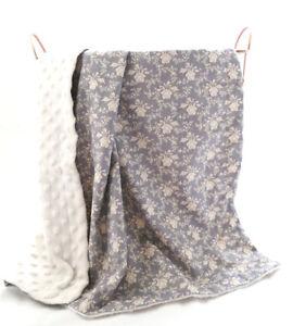 Sale $10OFF grey cream Minky Baby Blanket Stroller Pram Crib Shower Gift