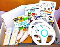 Wii Console Nintendo White 2 Remotes 2 Nunchucks Mario Kart, Wii Sports & Play