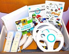 Wii Console Nintendo White 2 Remotes 2 Nunchucks Mario Kart, Wii Sports & Play
